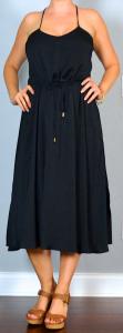 napa/san francisco outfit post: black racer back midi dress