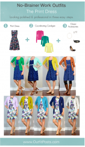 "outfit post: no-brainer work outfits ""The Print Dress Formula"""