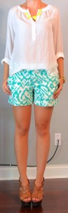outfit post: teal ikat shorts, white peasant blouse, neon necklace