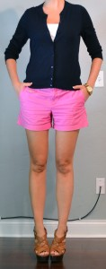 outfit post: pink shorts, navy cardigan, wedges