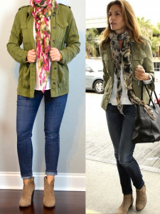 outfit post: green military jacket, skinny jeans, ankle boots, floral scarf