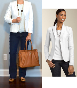 outfit post: white blazer, lace shirt, bootcut jeans, camel flats