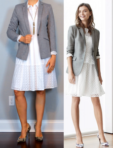 outfit post: white sleeveless eyelet shirtdress, grey jersey blazer, pointed toe snakeskin pump