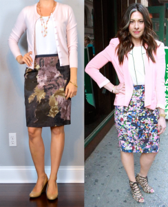 outfit post: floral pencil skirt, white shell, light pink cardigan, nude wedges