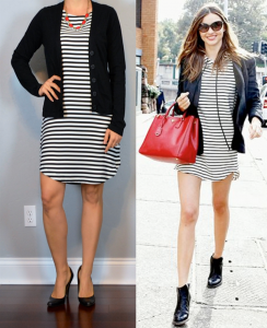 outfit post: striped dress, black cardigan, black pumps, red statement necklace