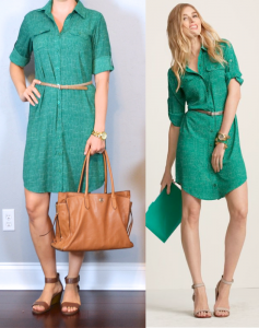 outfit post: green shirt dress, gold belt, brown sandals
