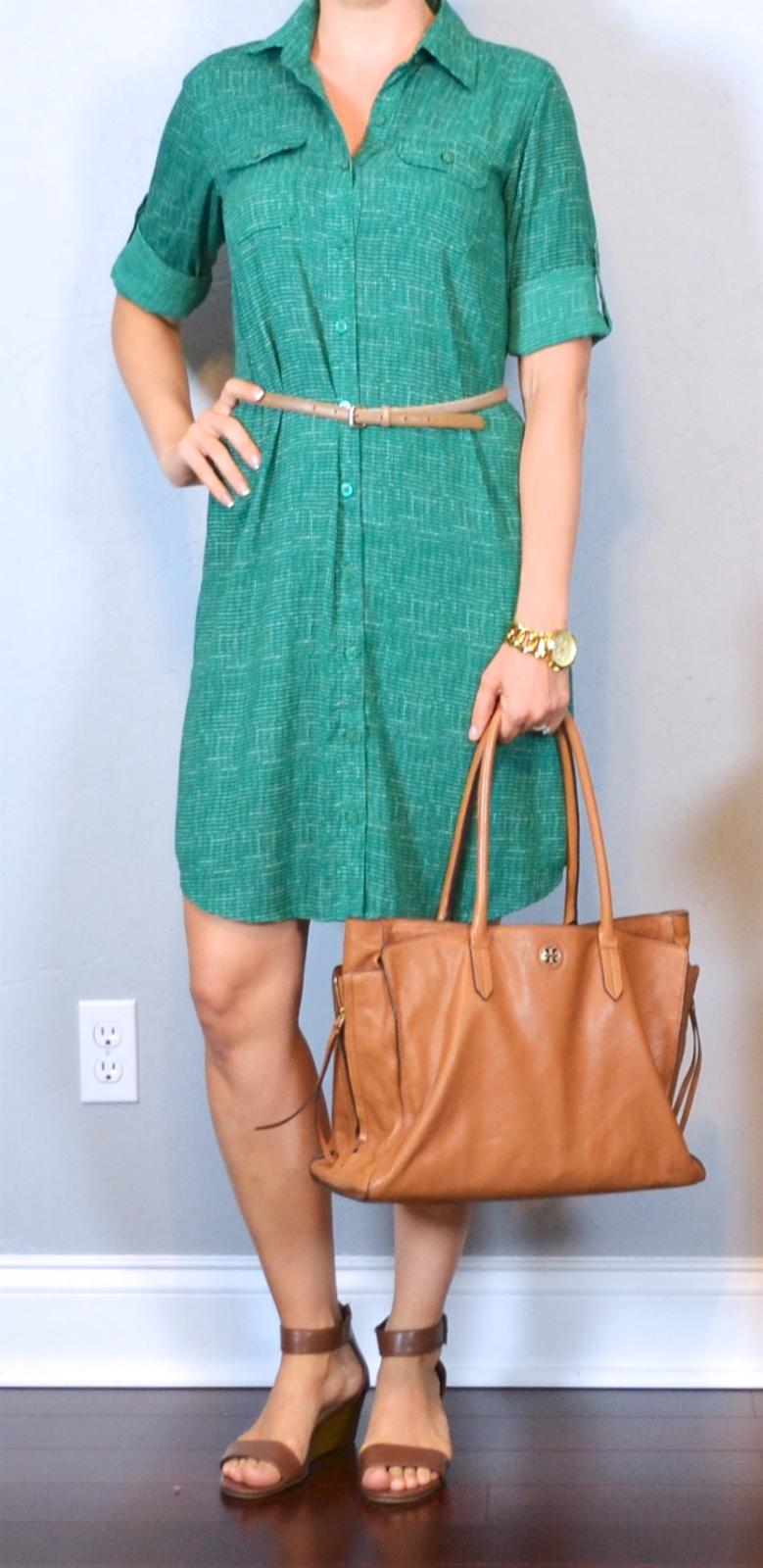 post green shirt dress gold belt brown sandals