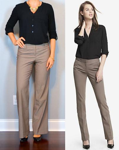 Outfit post black button up shirt brown pants black pumps