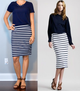 outfit post: navy blouse, striped jersey pencil skirt, brown wedge sandal