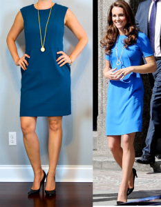 outfit post: blue sheath dress, black pumps, gold pendant necklace