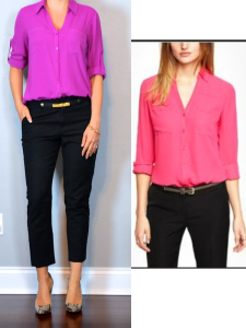 outfit post: pink portofino shirt, black cropped pant, snakeskin pump