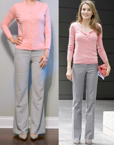 outfit post: pink cardigan, grey pants, grey pointed toe pumps
