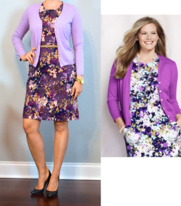 outfit post: purple floral sheath dress, purple cardigan, black pumps
