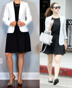 outfit post: black sleeveless sweater dress, white jacket, snakeskin pumps