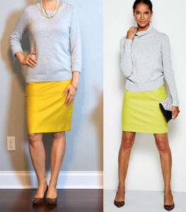 outfit post: grey sweater, mustard pencil skirt, leopard wedges
