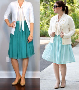 outfit post: white cardigan, white tie neck blouse, teal midi skirt, nude pumps