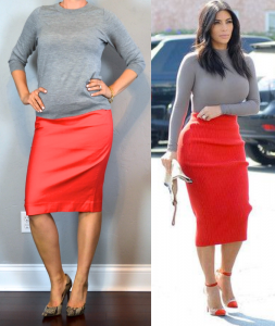 outfit post: grey sweater, orange pencil skirt, snakeskin pumps