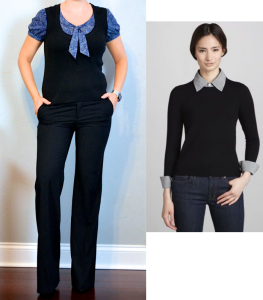 outfit post: blue tie-neck blouse with vest, black pants, black pumps