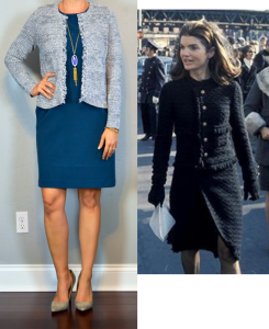 outfit post: blue/grey fringe trim cardigan, blue sheath dress, grey pointed toe pumps