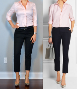 outfit post: pink button shirt, black cropped pant, snakeskin pumps