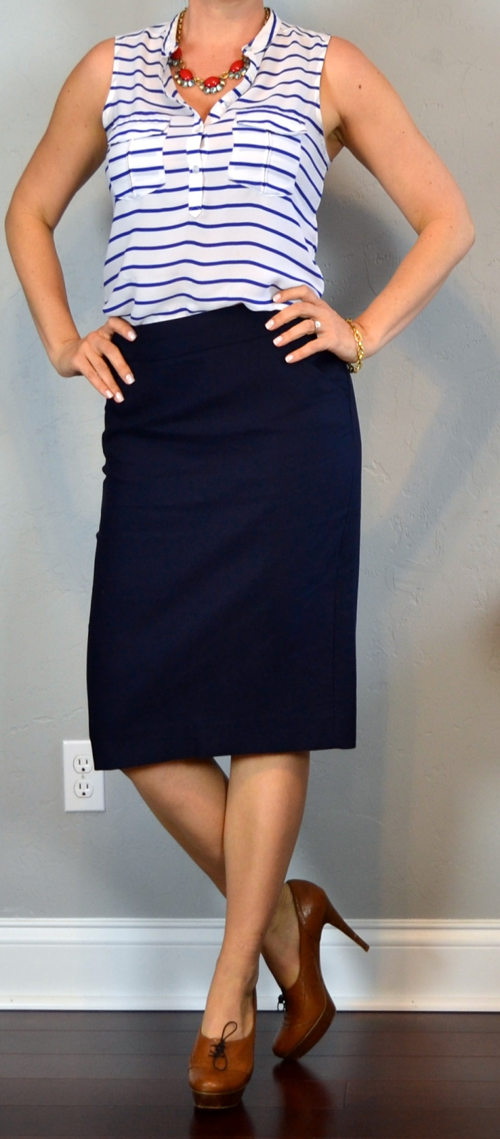 Outfit Post Striped Sleeveless Blouse Navy Pencil Skirt
