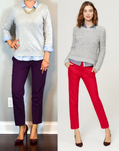 outfit post: purple cropped ankle pants, chambray shirt, grey sweater, burgundy pumps