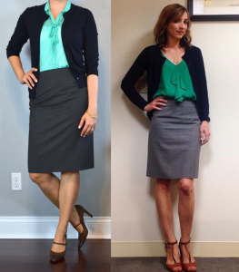 outfit post: mint tie-neck blouse, grey pencil skirt, navy cardigan, brown mary janes