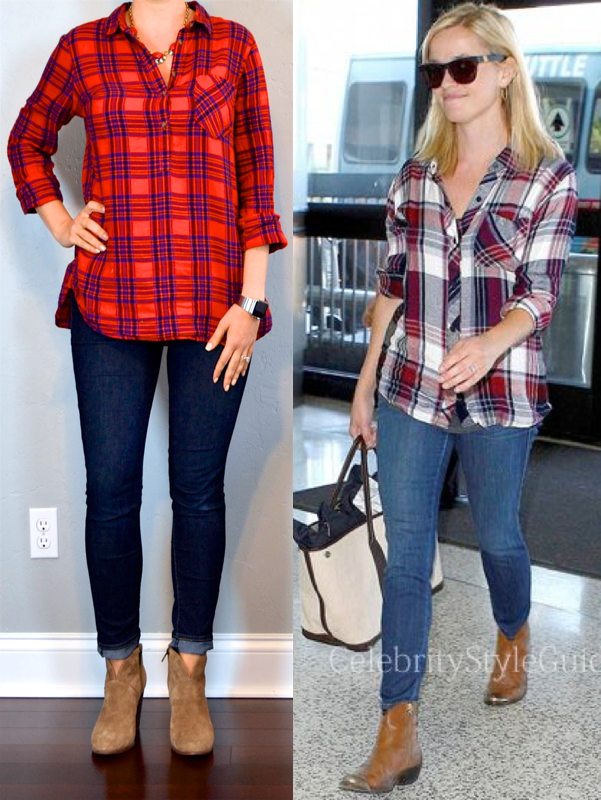 outfit post plaid shirt skinny jeans ankle boots