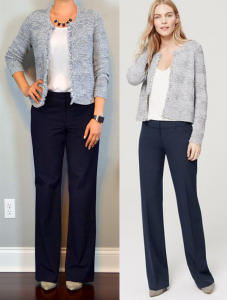 outfit post: blue/grey fringe trim cardigan, white shell, navy pants, grey pointed toe pumps