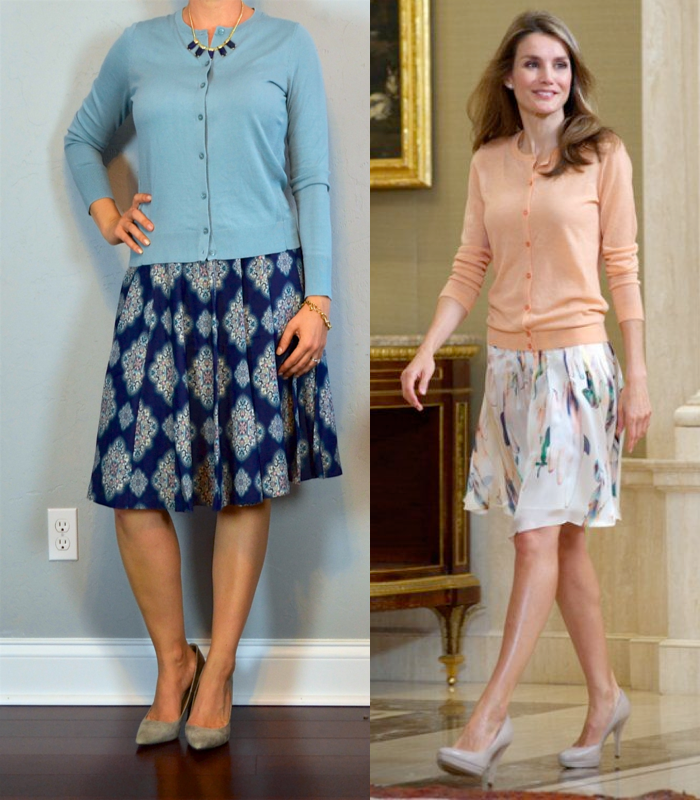 Outfit post blue cardigan mosaic full skirt grey pointed toe pumps