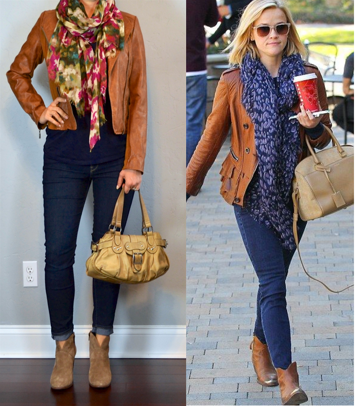 outfit post brown leather jacket, navy t,shirt, skinny jeans, ankle boots