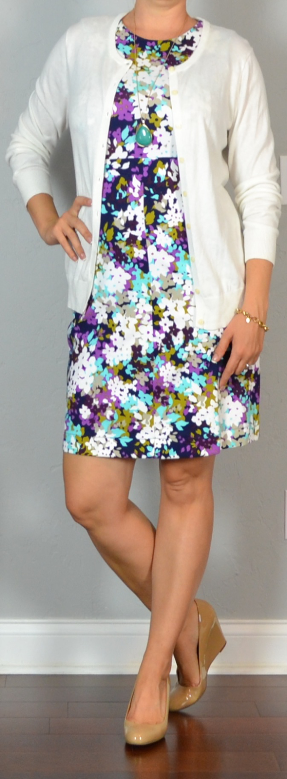 outfit post: purple sleeveless floral ponte dress, green