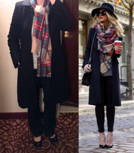 outfit post: navy wool coat, bootcut jeans, grey sweater, plaid scarf, black ballet flats