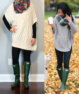 outfit post: cowl neck cable knit cape, black leggings, green 'wellies' rain boots, plaid blanket scarf
