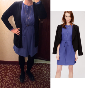 outfit post: henley shirt dress, black boyfriend cardigan, black fleece tights, black ballet flats