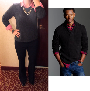 outfit post: grey cashmere sweater, pink check shirt, black pants, black pumps
