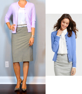 outfit post: lilac/purple cardigan, white camisole, grey pencil skirt, snakeskin pumps