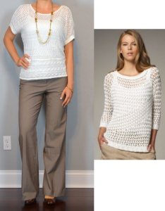 outfit posts: white crocheted sweater, brown pants, leopard wedges