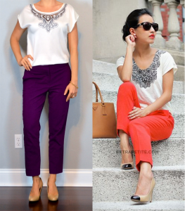 outfit post: embroidered flutter sleeve blouse, purple ankle pants, nude wedges