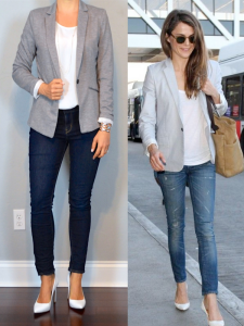 outfit post: grey jersey blazer, white shell, skinny jeans, white pumps