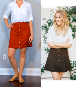 outfit post: white portofino shirt, suede rust button front mini skirt, nude cutout flats