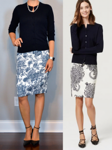 outfit post: navy cardigan, blue floral pencil skirt, black pointed toe pumps