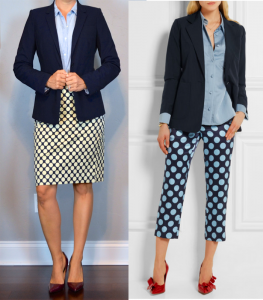 outfit post: navy jacket, chambray shirt, polka-dot pencil skirt, burgundy pumps
