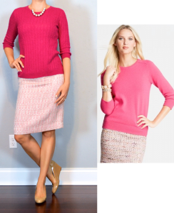 outfit post: pink sweater, pink tweed pencil skirt, nude wedges