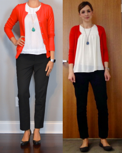 outfit post: red cardigan, white blouse, black cropped pants, teal necklace