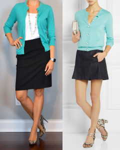 outfit post: teal cardigan, black pencil skirt, snakeskin pumps