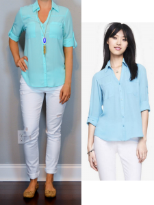 outfit post: aqua portofino shirt, white distressed jeans, nude cutout flats