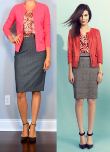 outfit post: pink cardigan, pink patterned blouse, grey pencil skirt, black pointed toe pumps