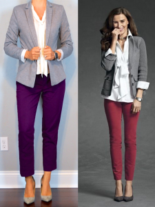 outfit post: grey blazer, white tie-neck blouse, purple ankle pants