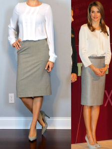 outfit post: white long sleeved blouse, grey pencil skirt
